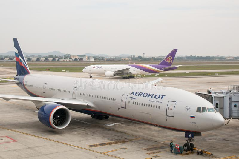 Hanoï, Vietnam - 20 janvier 2018 : Avions Boeing 777 des lignes aériennes russes d'Aeroflot à l'aéroport de Noi Bai Noi Bai Inter image stock