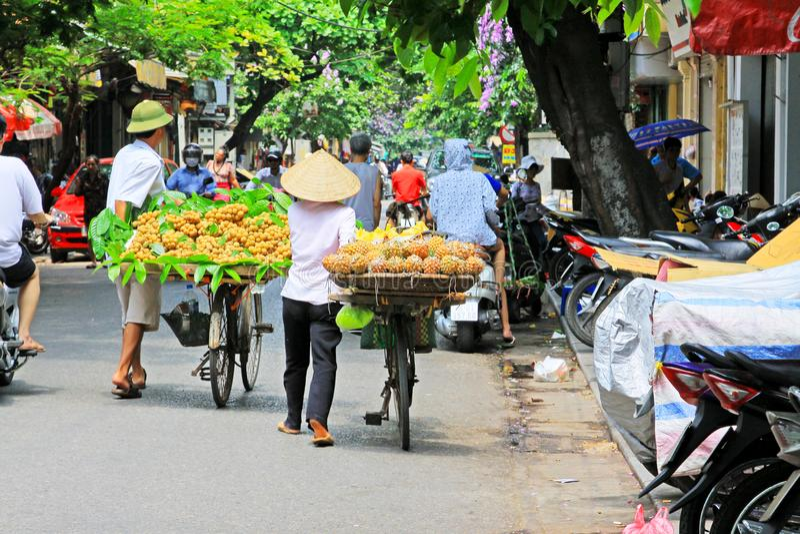 Hanoi Bicycle Street Vendors, Vietnam royalty free stock images