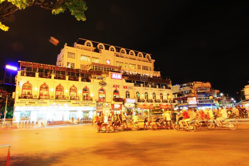 Hanoi Cityscape at Night, Hanoi Vietnam stock photography