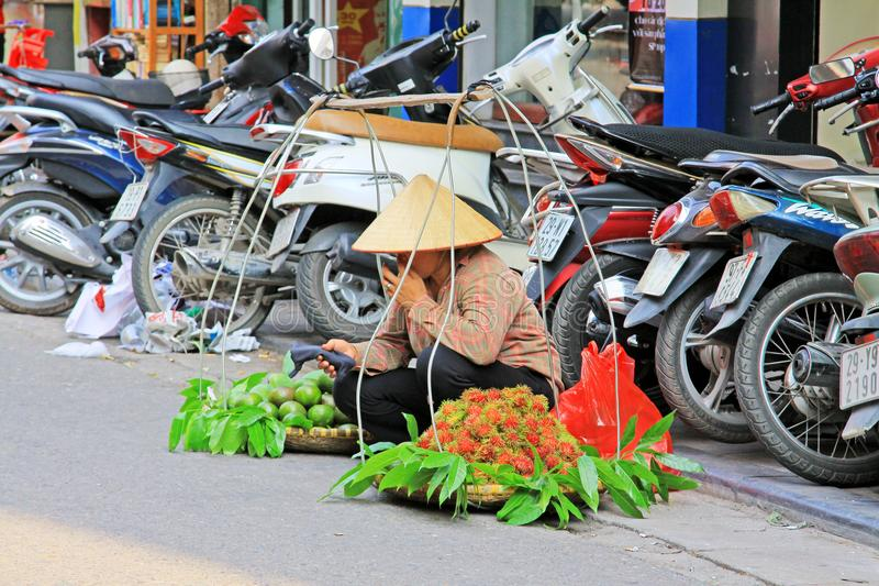 Hanoi Street Vendors, Vietnam royalty free stock image