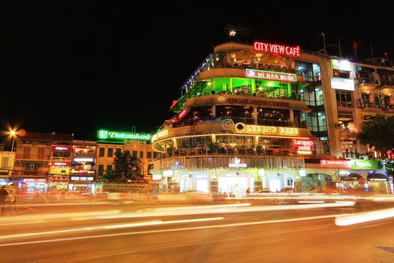 Hanoi Cityscape at Night, Hanoi Vietnam stock photo