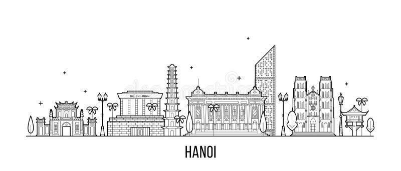 Hanoi linia horyzontu Wietnam miasta budynków wektor liniowy royalty ilustracja