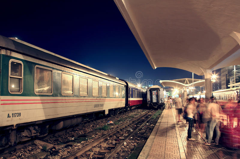 Hanoi railway station at night stock photos