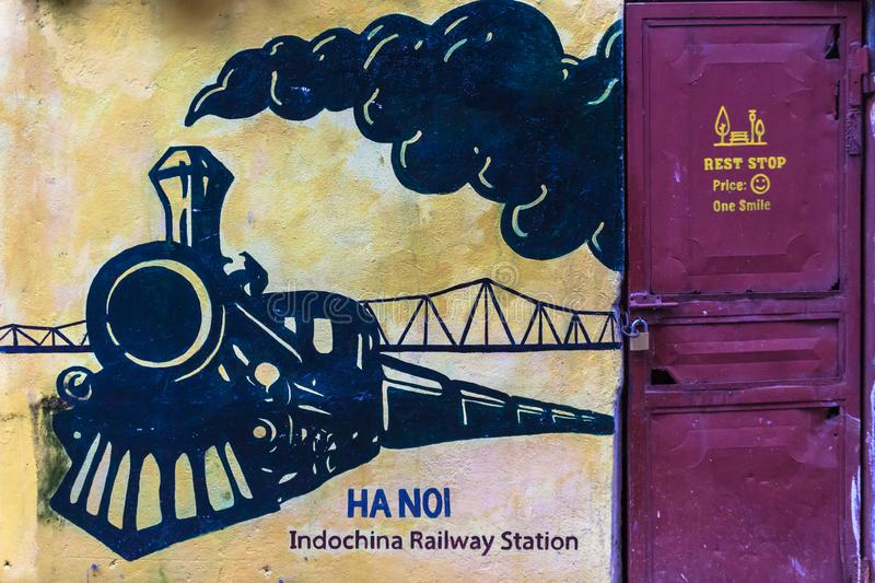 Hanoi railway station is one of the main railway stations on the North–South Railway Reunification Express in Vietnam stock image