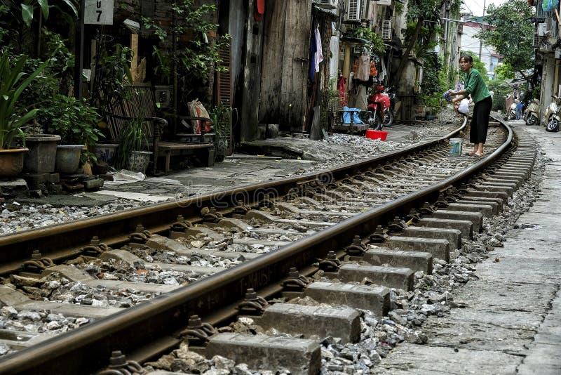 Hanoi`s Train Street in Hanoi, Vietnam. Hanoi, Vietnam - August 31: People living their daily life in the middle of Hanoi`s Train Street on August 31, 2018 in royalty free stock photo