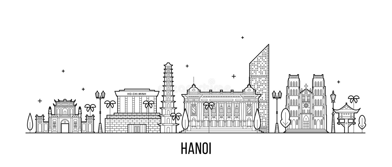 Hanoi-Skyline Vietnam-Stadtgebäudevektor linear lizenzfreie abbildung