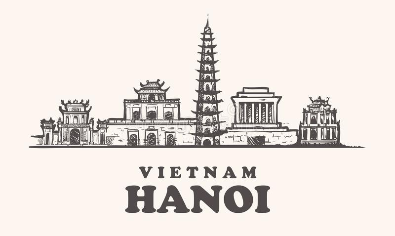 Hanoi-Skyline, Vietnam-Weinleseillustrations-Handgezogene Gebäude stock abbildung