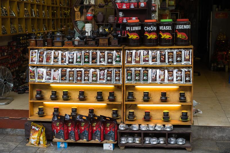 Hanoi, Vietnam - Apr 5, 2015: Various brand name coffee for sale in Hang Buom street, Hoan Kiem district. Vietnam is the world`s royalty free stock images