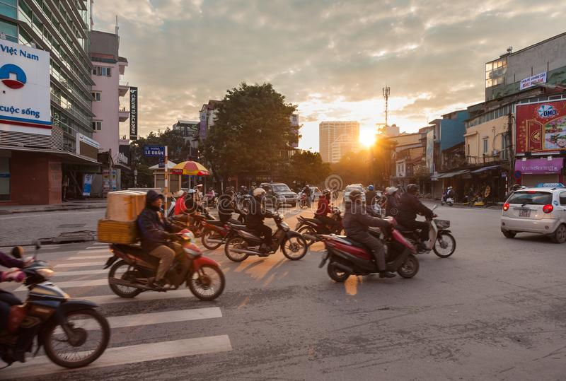 Hanoi busy street in the morning royalty free stock photos