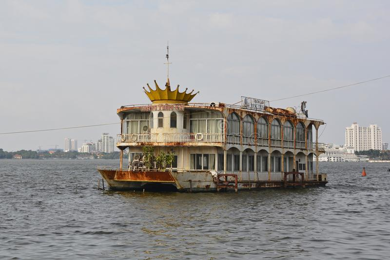Abandoned Boat in West Lake in Hanoi stock photos