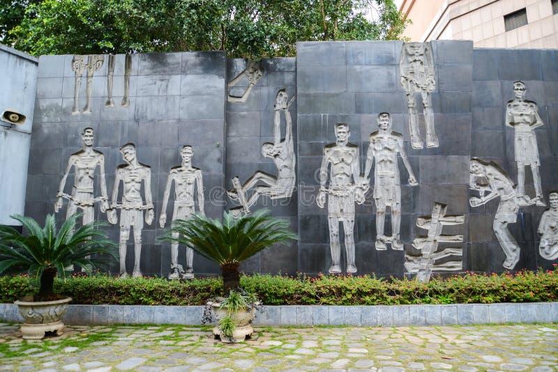 Hanoi, Vietnam - 20. Februar 2017: Erinnerungsgefängnisinnenraum mit s stockbilder