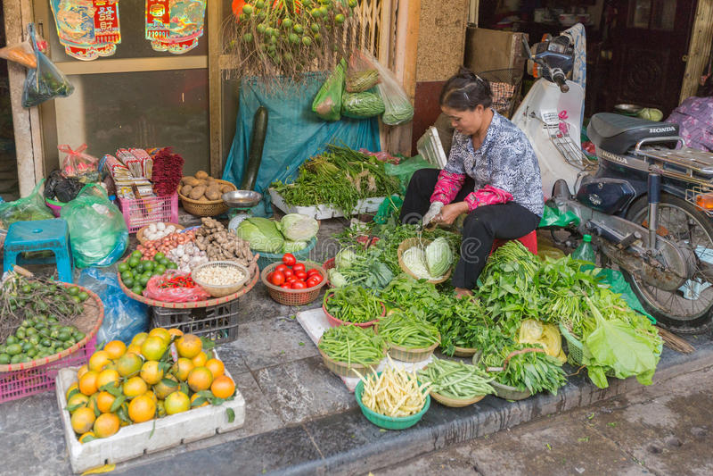 HANOI, VIETNAM - FEBRUARI 2, 2015: Markt in Vietnam stock foto