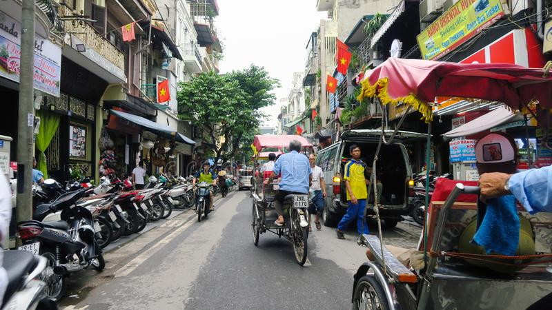 Hanoi - Vietnam. September 01, 2018. busy road with many motorcycles and people . Motorcycle is the most popular mode of transportation in Vietnam stock photography
