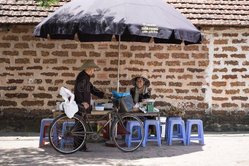 Hanoi Vietnam - Juli 16, 2916: Kvinna, som lät småkoka försäljningar bär frukt, sötad havregröt på stallen som talar till gamala  fotografering för bildbyråer