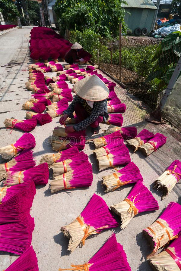 Hanoi, Vietnam - July 28, 2017: Incense sticks drying outdoor with Vietnamese woman wear conical hat working on the yard stock photos