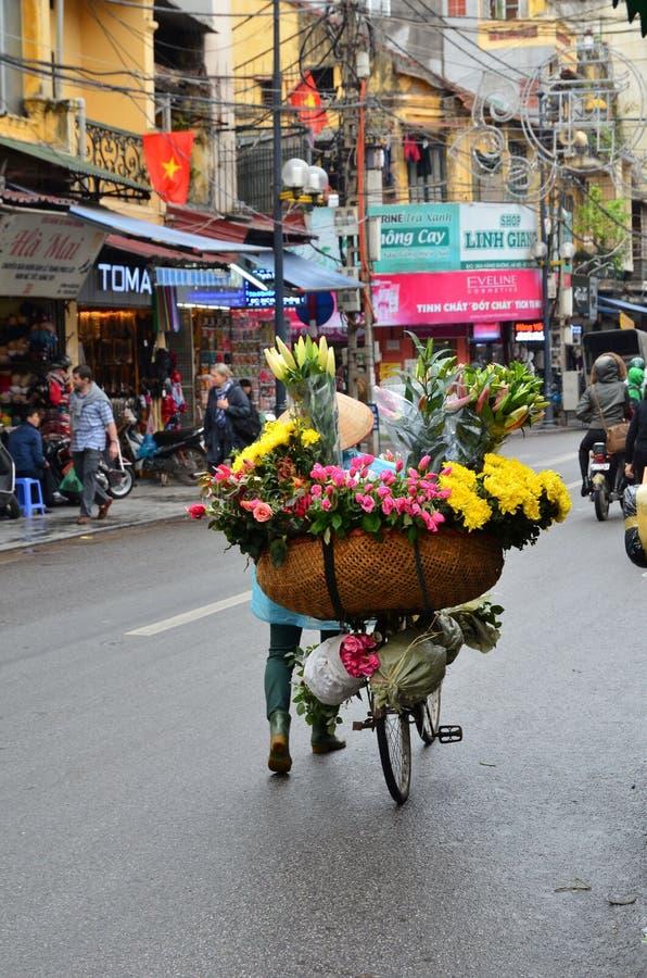 HANOI, VIETNAM march 01: Busy traffic in the old quarter 2015 in Hanoi. Life of Vietnamese street on Hanoi stock image