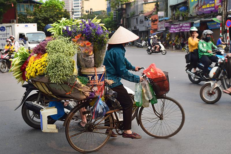 Hanoi, Vietnam, March 31th 2019: A vietnamese woman sells flowers and uses her bicycle to transport them. royalty free stock photography