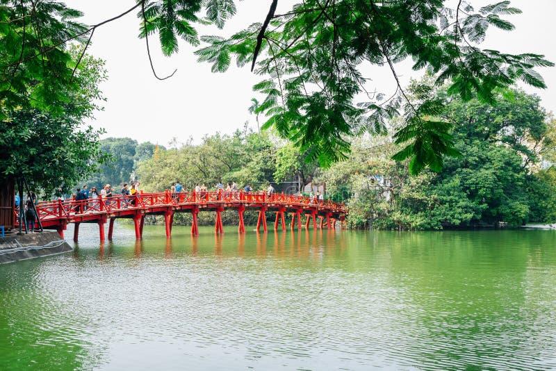 Hoan Kiem lake and Den ngoc son temple bridge in Hanoi, Vietnam royalty free stock photos