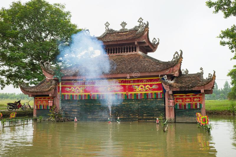 Hanoi, Vietnam - Sep 20, 2015: Common Vietnamese water puppetry state in Dao Thuc village.  stock images