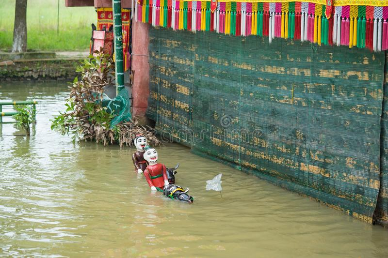 Hanoi, Vietnam - Sep 20, 2015: Common Vietnamese water puppetry state in Dao Thuc village.  royalty free stock photos