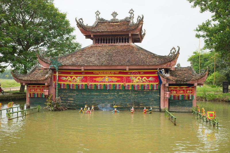 Hanoi, Vietnam - Sep 20, 2015: Common Vietnamese water puppetry state in Dao Thuc village.  royalty free stock photography