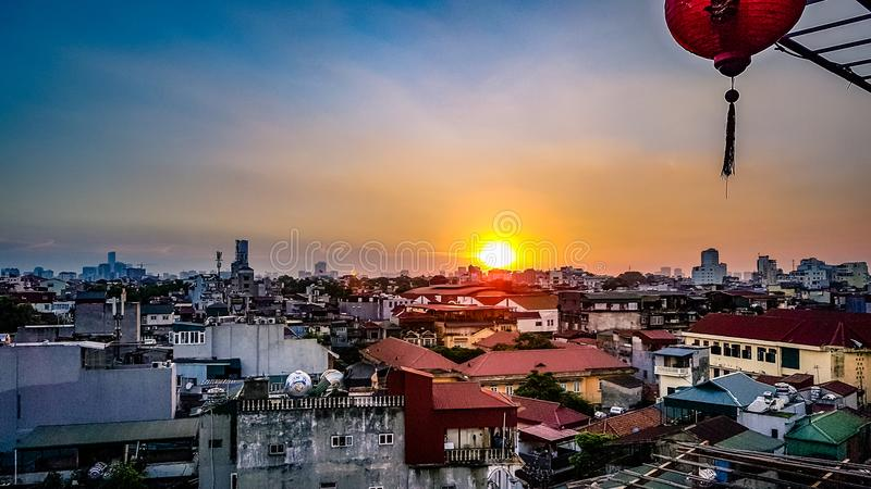 Hanoi Vietname Cityscape Skyline South East Asia. View out over the houses and apartments of the city. Generally poor dwellings for the everyday man royalty free stock photos