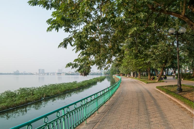 Scenic view of the West Lake in Hanoi city, Vietnam. Hanoi, Vietname - November 1, 2017 : Scenic view of the West Lake in Hanoi city, Vietnam stock photography