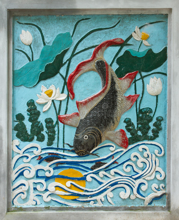 HANOI, VIETNAME, o 8 de agosto de 2012; Desenho antigo de um peixe no imagens de stock royalty free