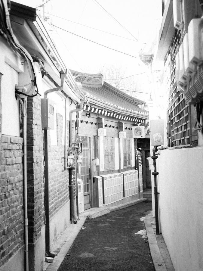 Hanok Village in Seoul. Beautiful black and white photo of Hanok Village in Seoul royalty free stock images