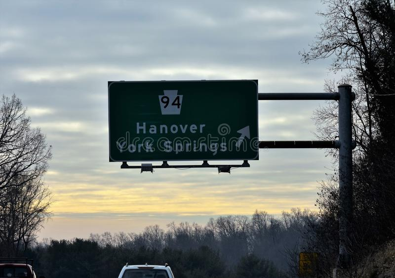 Hanover Exit onto Route 94 South from 11/15 South royalty free stock photo
