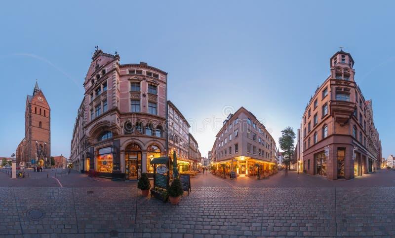 Hanover. Marktplatz. 360 graadpanorama. stock foto