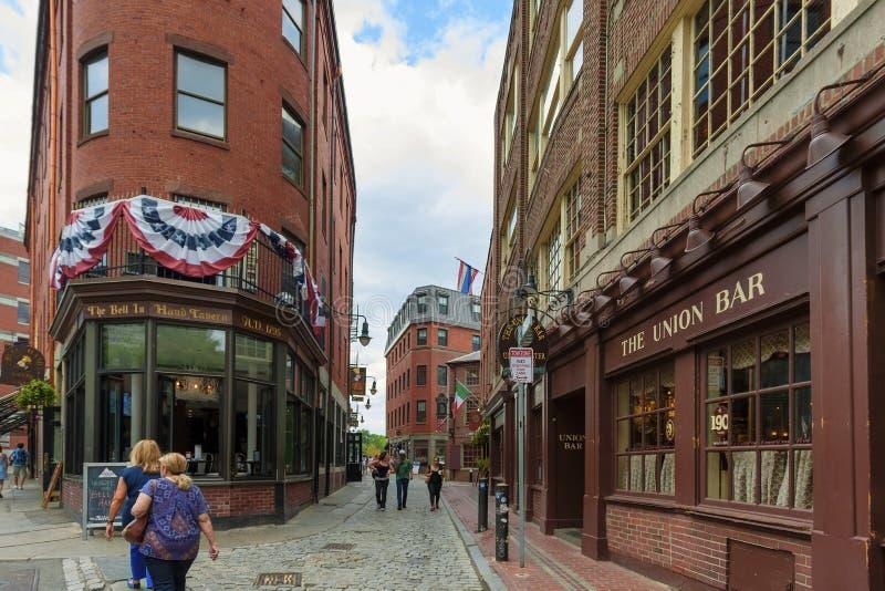 Hanover Street downtown Boston Massachusetts royalty free stock images