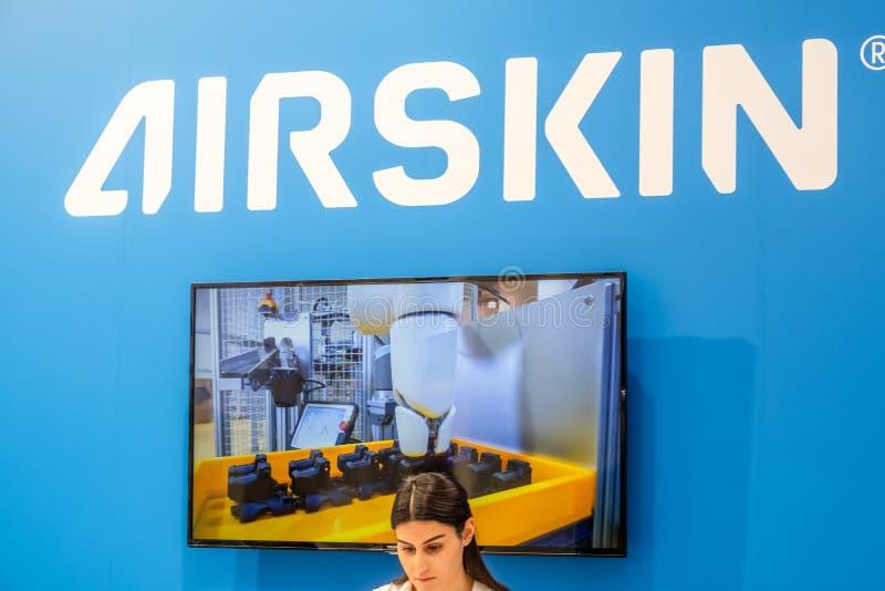 Hanovre, Allemagne - 2 avril 2019 : Airskin montre de nouvelles innovations à Hanovre Messe photographie stock libre de droits