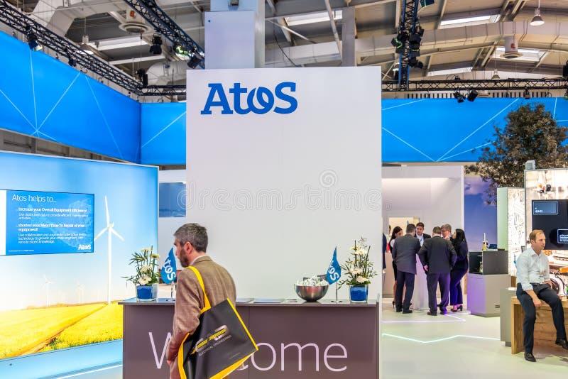 Hanovre, Allemagne - 2 avril 2019 : Atos montre de nouvelles innovations à Hanovre Messe photo stock