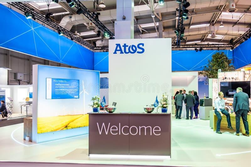 Hanovre, Allemagne - 2 avril 2019 : Atos montre de nouvelles innovations ? Hanovre Messe photographie stock