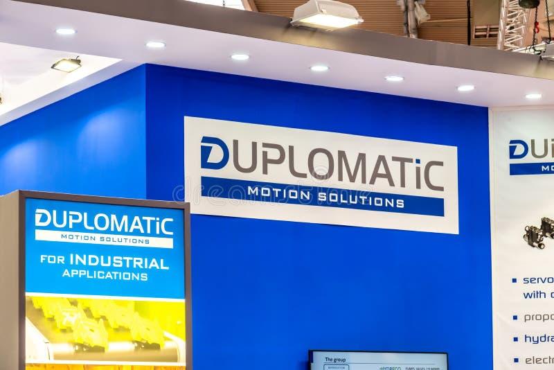 Hanovre, Allemagne - 2 avril 2019 : Duplomatic montre de nouvelles innovations à Hanovre Messe images stock