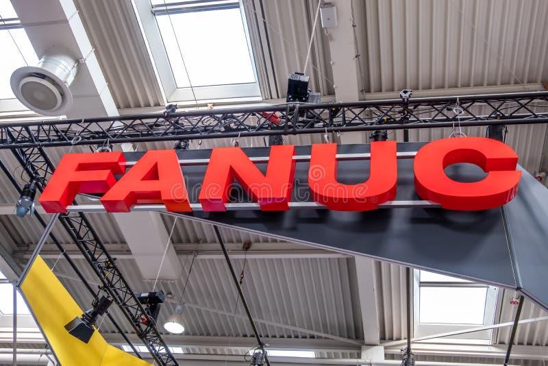 Hanovre, Allemagne - 2 avril 2019 : FANUC pr?sente la plus nouvelle g?n?ration des robots ? la FOIRE de HANOVRE photos libres de droits