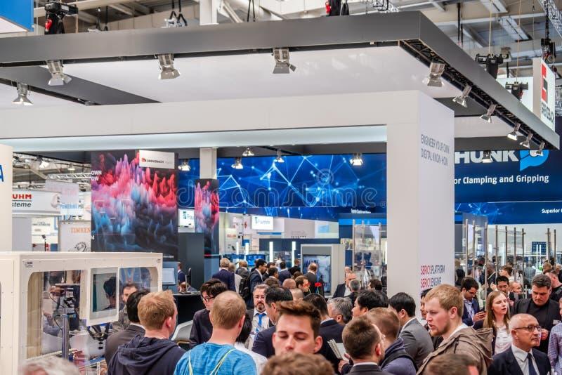 Hanovre, Allemagne - 2 avril 2019 : Grenzbach pr?sente leurs plus nouvelles innovations ? Hanovre Messe image stock
