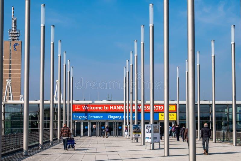 Hanovre, Allemagne - 2 avril 2019 : La FOIRE de HANOVRE demeure l'?talage principal mondial pour la technologie industrielle photo stock