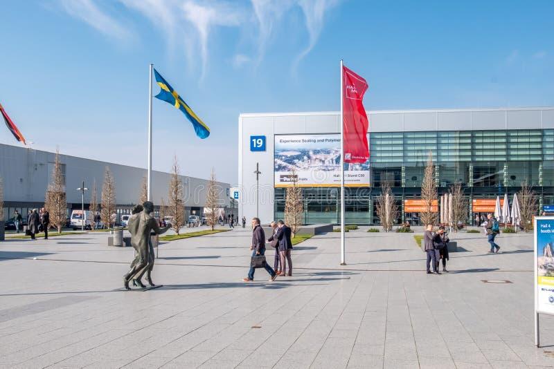 Hanovre, Allemagne - 2 avril 2019 : La FOIRE de HANOVRE demeure l'?talage principal mondial pour la technologie industrielle images libres de droits