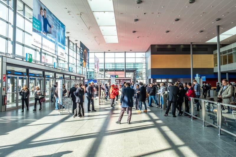 Hanovre, Allemagne - 2 avril 2019 : La FOIRE de HANOVRE demeure l'?talage principal mondial pour la technologie industrielle photographie stock
