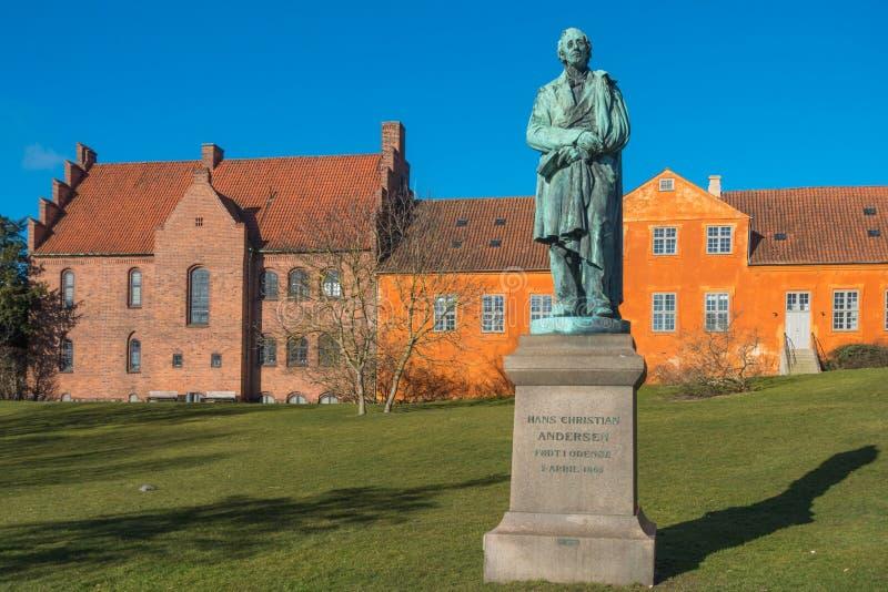 Hans Christian Andersen άγαλμα στη Οντένσε, Dernmark στοκ εικόνα