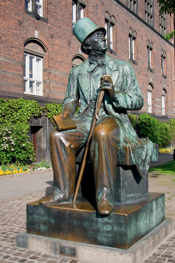 Hans Christian Andersen. Monument of Hans Christian Andersen in Copenhagen, looking at Tivoli park stock image
