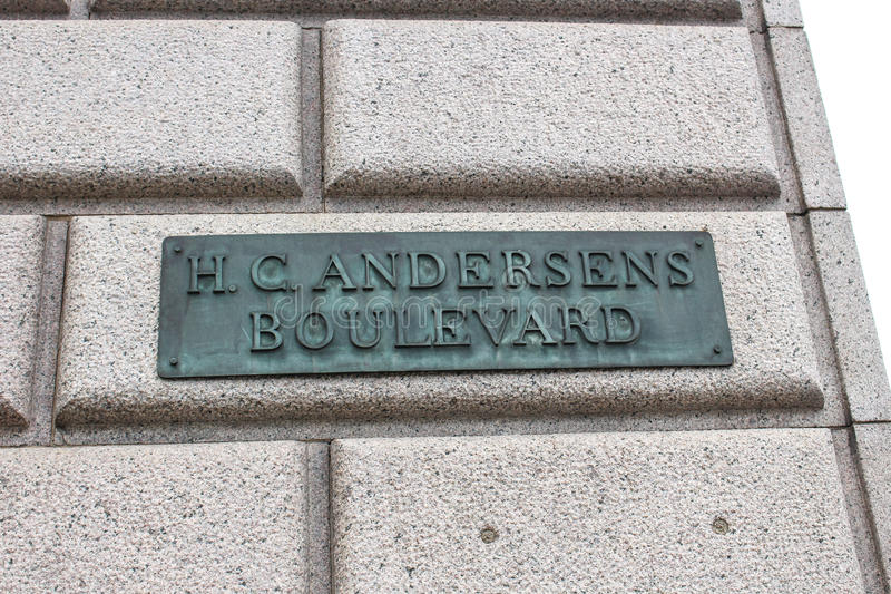 Hans Christian Andersen Boulevard Sign lizenzfreie stockbilder