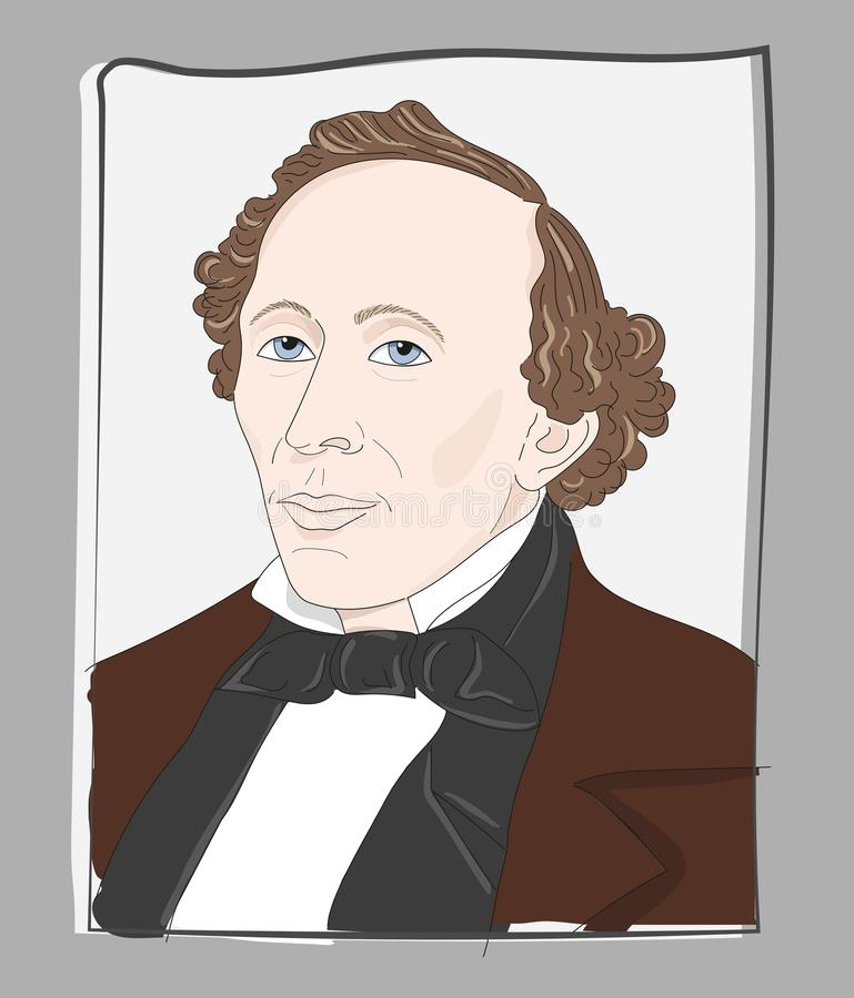 Hans Christian Andersen rocznika ilustracja royalty ilustracja