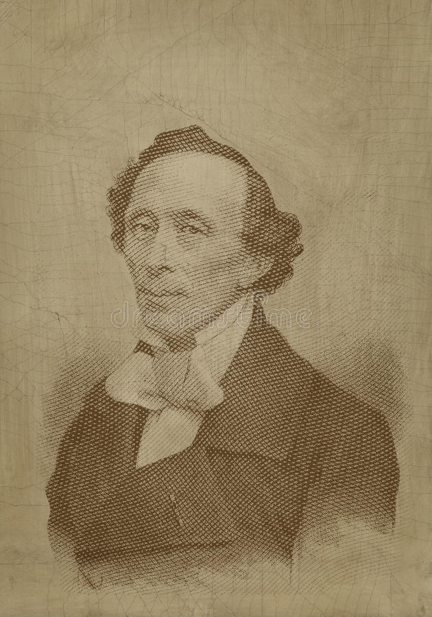 Hans Cristian Andersen sepia engraving portrait. For editorial use royalty free illustration