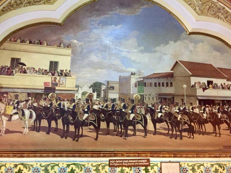 Hans Höghet Body Guards med kavallerimusikbandet i den furstliga staten av Mysore royaltyfria bilder
