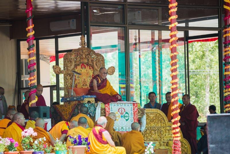 Hans helighet Dalai Lama i det 33rd Kalachakra bemyndigandet i Leh, Ladakh royaltyfri foto