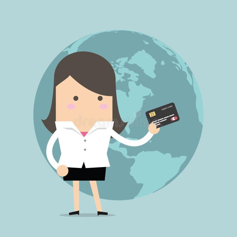 Hans stående innehav för affärskvinna en kreditkort framme av jordklotet royaltyfri illustrationer