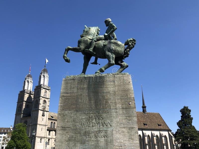 Hans Waldmann Statue in de stad van Zürich royalty-vrije stock foto